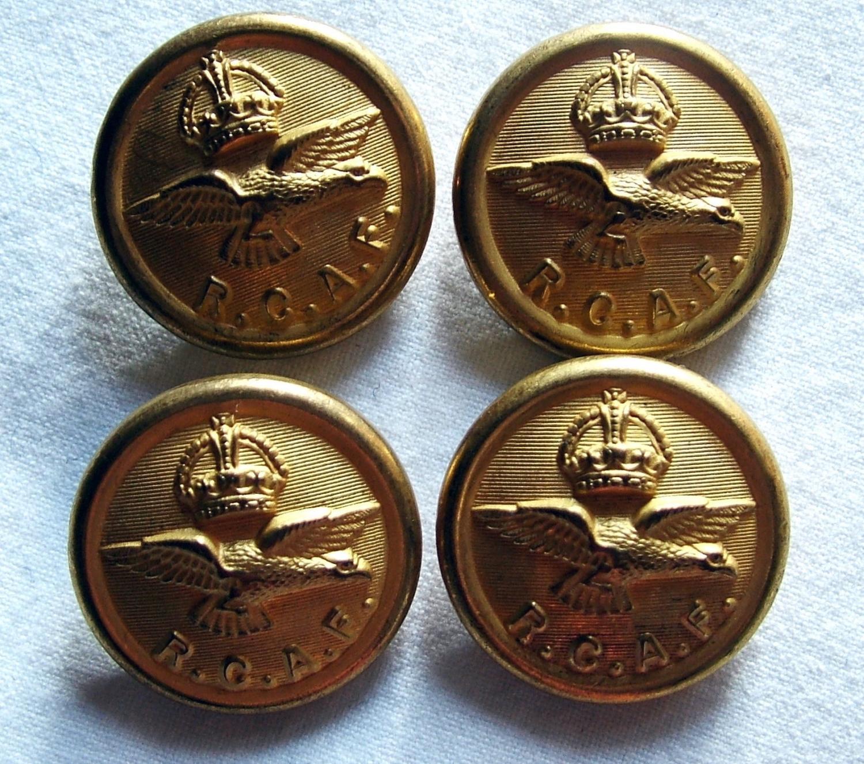 RCAF King's Crown  Uniform Buttons - Large