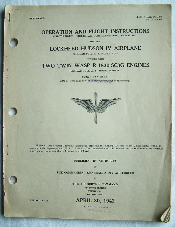 USAAF / RAF Flight Instructions - Hudson