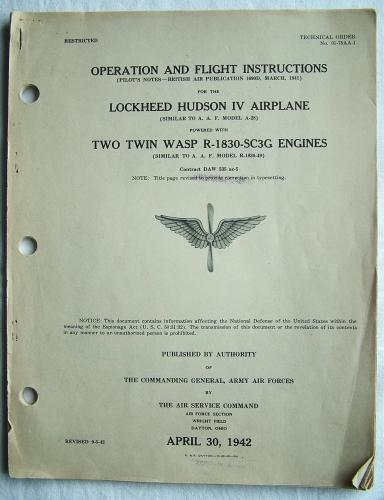 USAAF / RAF Flight Instructions - Hudson