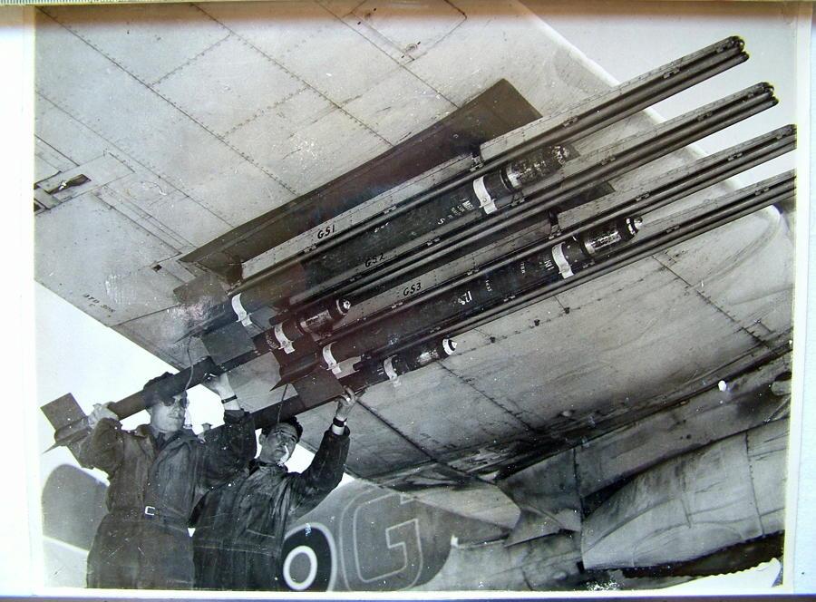 RAF Press Photo - Rocket Firing Beaufighter