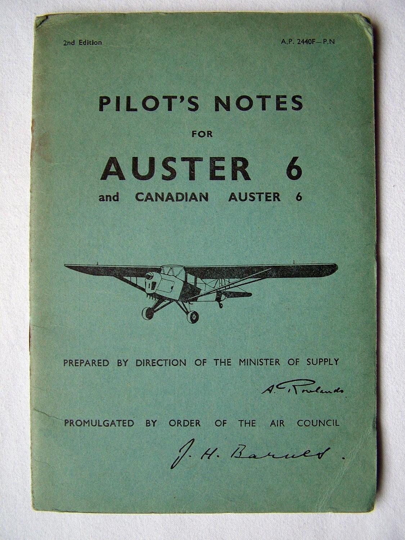 RAF / RCAF Pilot's Notes : Auster 6