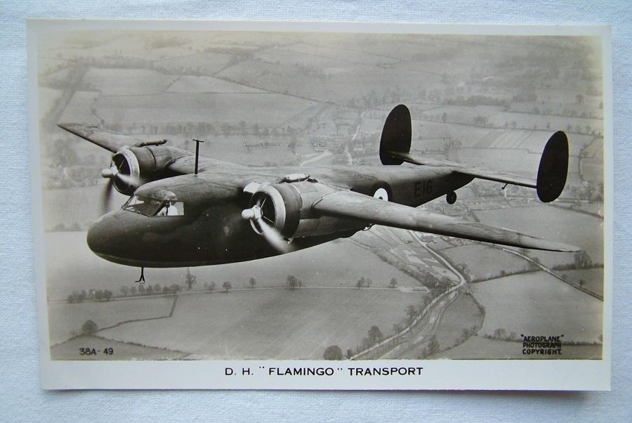 WW2 Postcard  - D.H. Flamingo