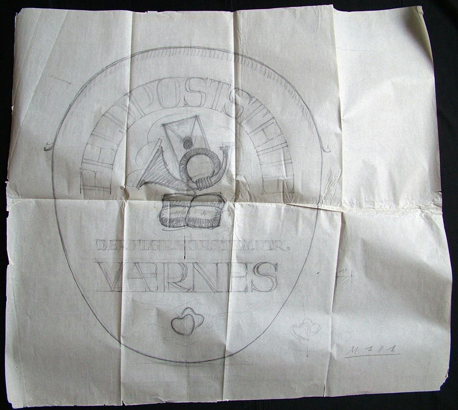 Original Luftwaffe Base Sign Drawing