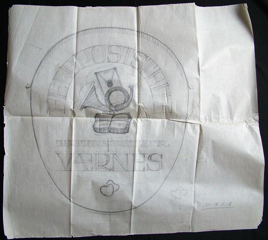 Original Luftwaffe Base Sign Drawing