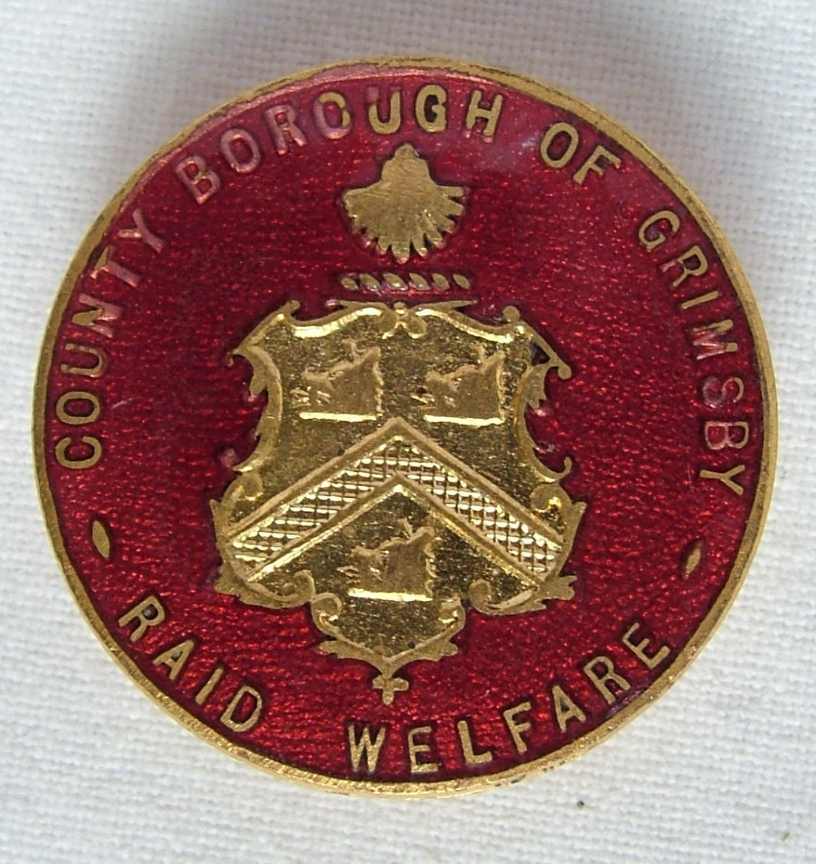 WW2 Grimsby Air Raid Welfare Badge, V1