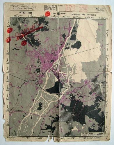 RAF Target Map - Stettin, Germany