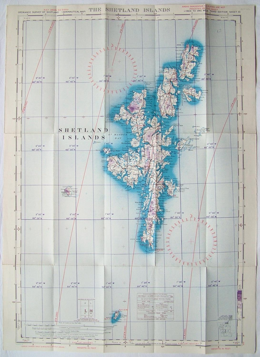 RAF Flight Map - The Shetlands Islands
