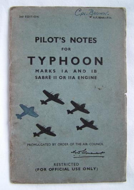 RAF Pilot's Notes, Typhoon, MKs 1A & 1B