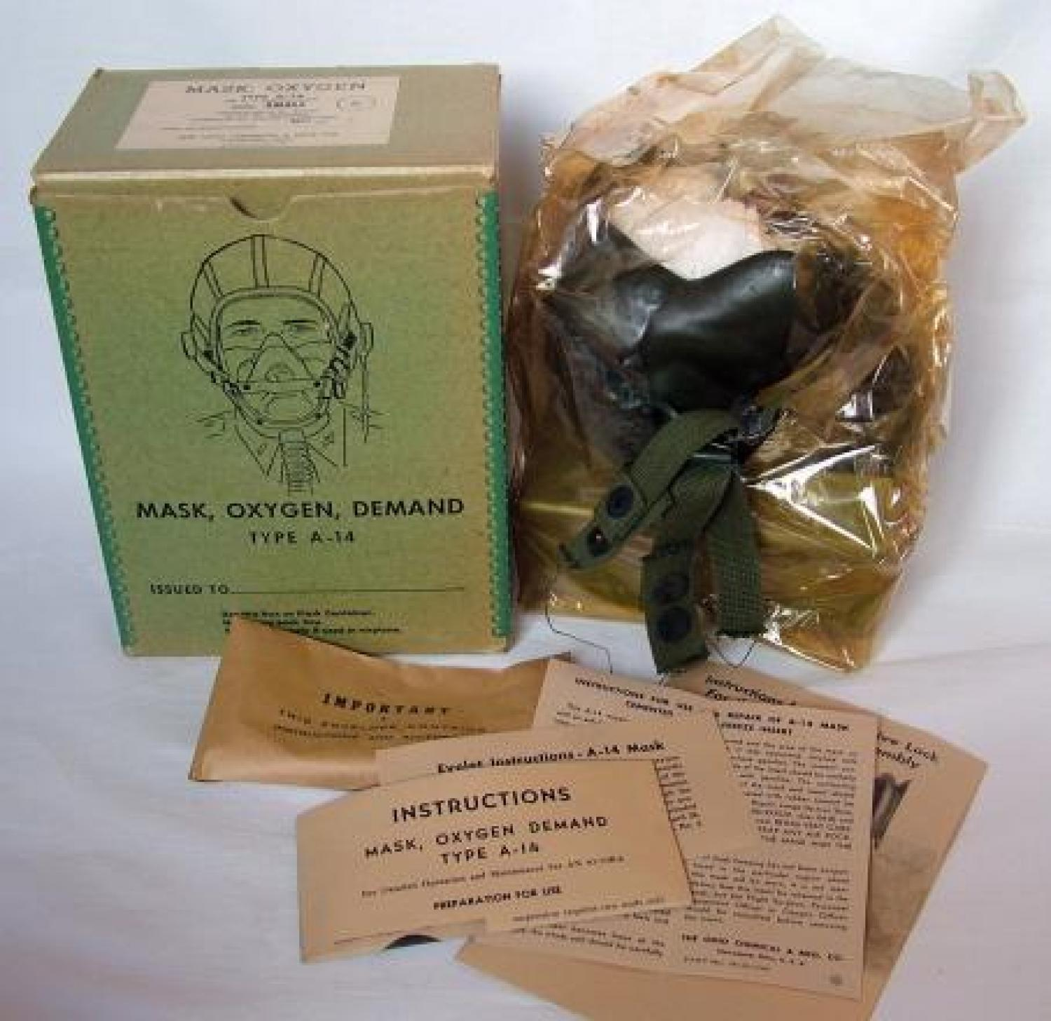 USAAF A-14 Oxygen Mask, 8thAF Modified, Boxed