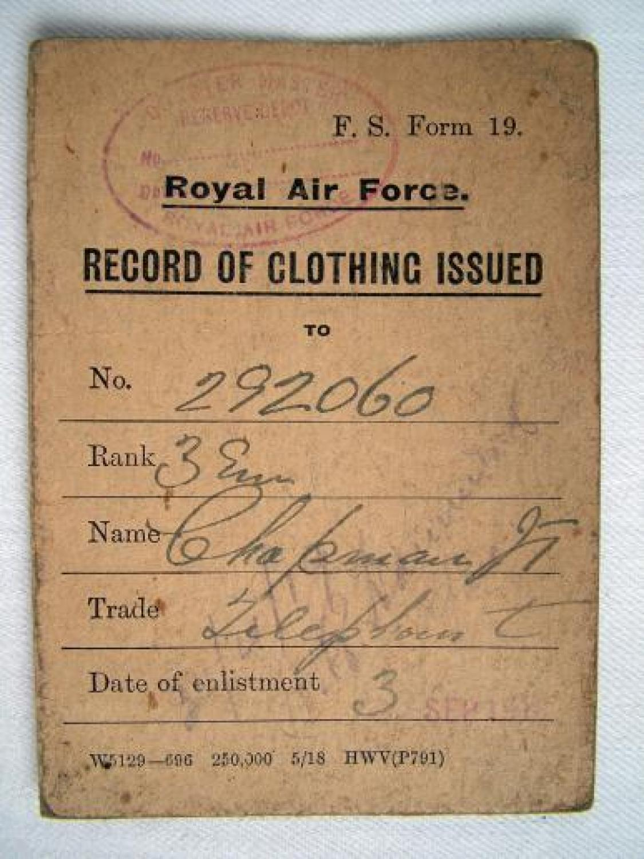 R.A.F. Flying Clothing Card - 1918