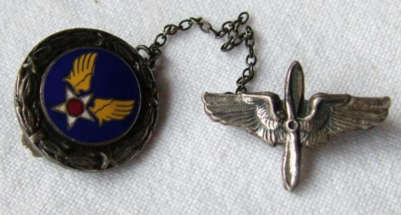 USAAF Winged Propeller Brooch - Silver