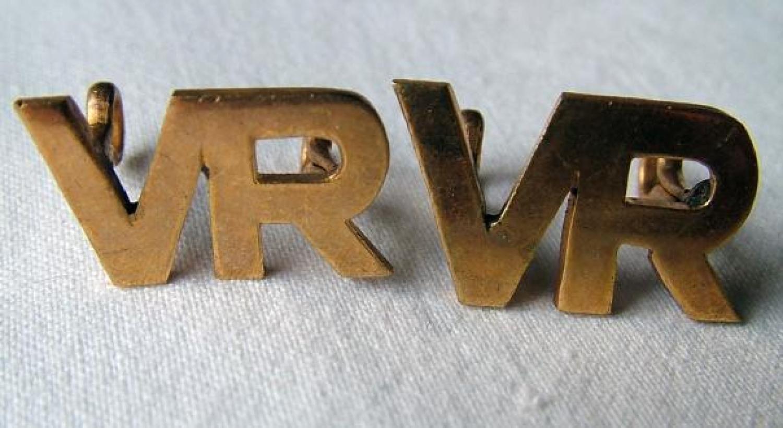RAF Volunteer Reserve Collar Insignia