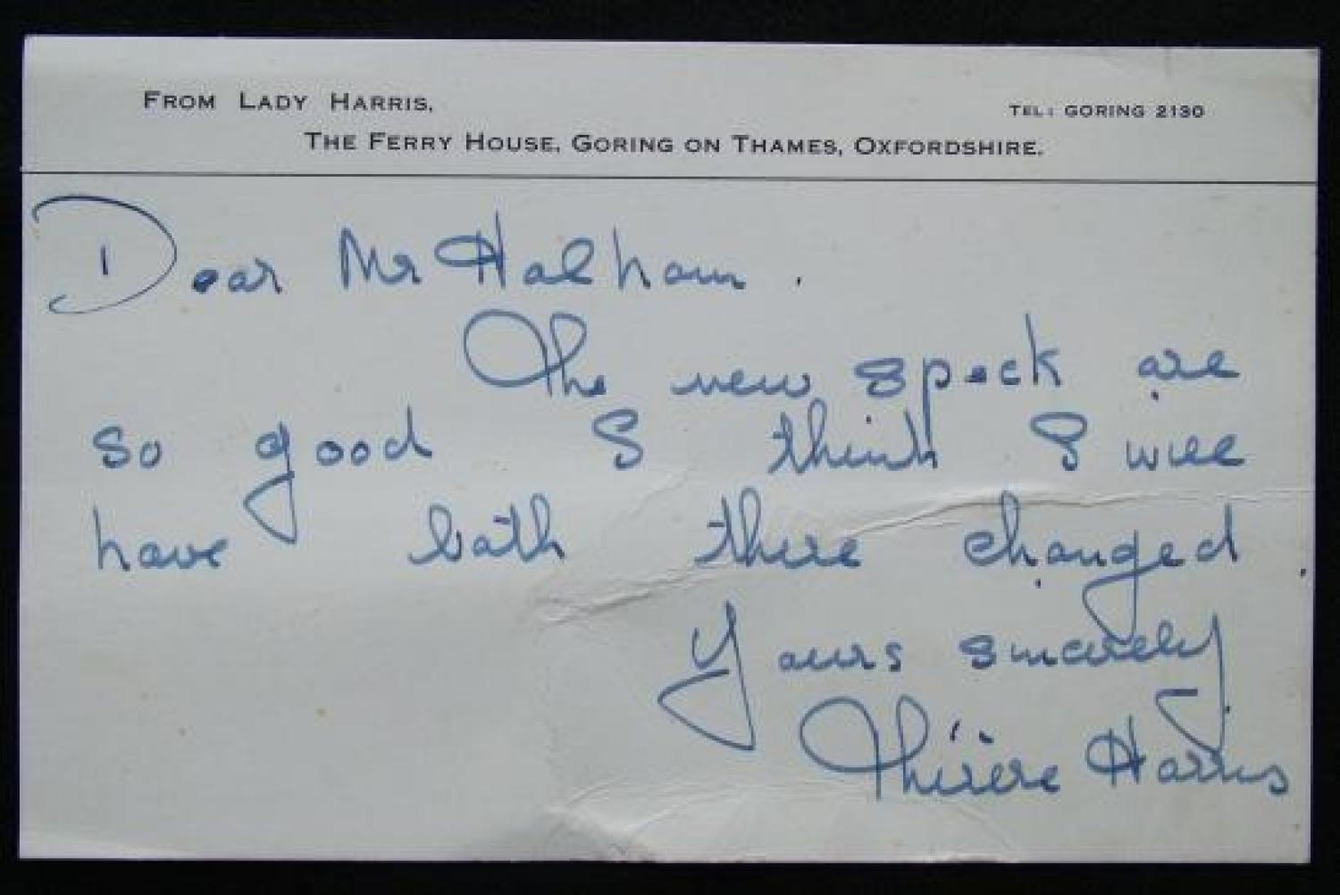 Handwritten, Signed Note From Lady Harris