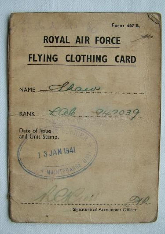 R.A.F. Flying Clothing Card