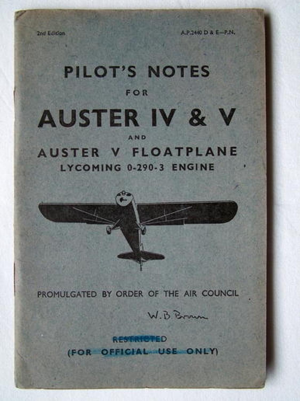 RAF Pilot's Notes - Auster IV,V,VI Floatplane