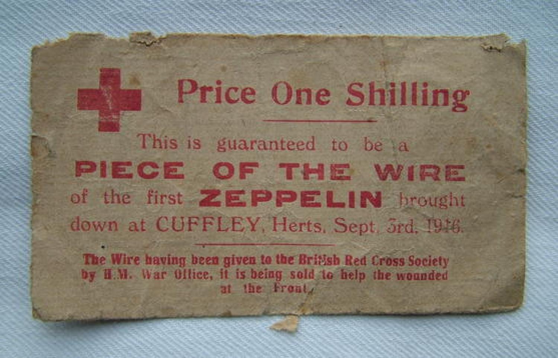 WW1 Red Cross / Zeppelin Souvenir