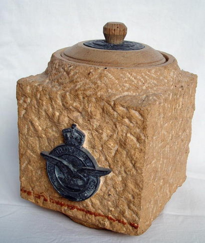 RAF Crested Biscuit Barrel / Tobacco Jar