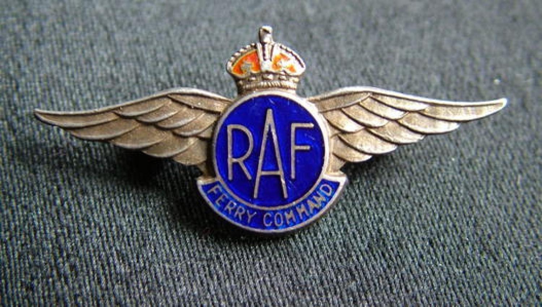 R.A.F. Ferry Command Pilots Lapel Badge