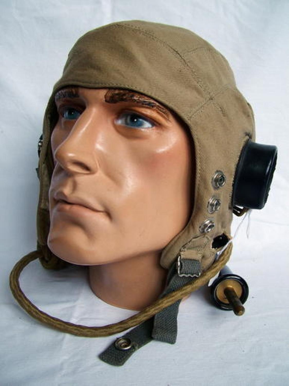 RAF D-type Flying Helmet, Wired, Late Patt.