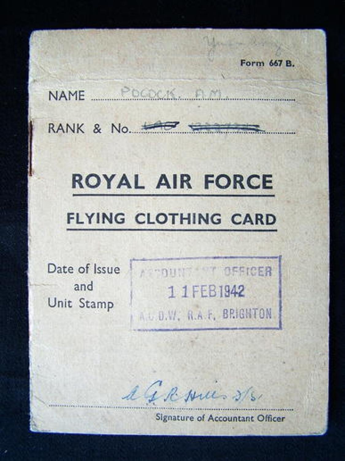 RAF Flying Clothing Card