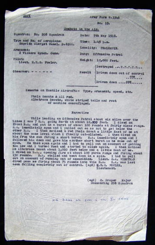 RFC Combat Report c.1918