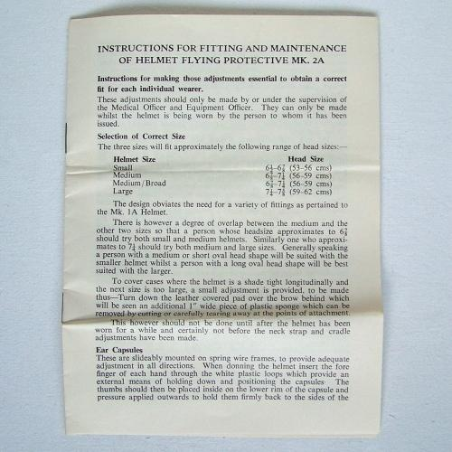 RAF MK.2A Flying Helmet Instructions