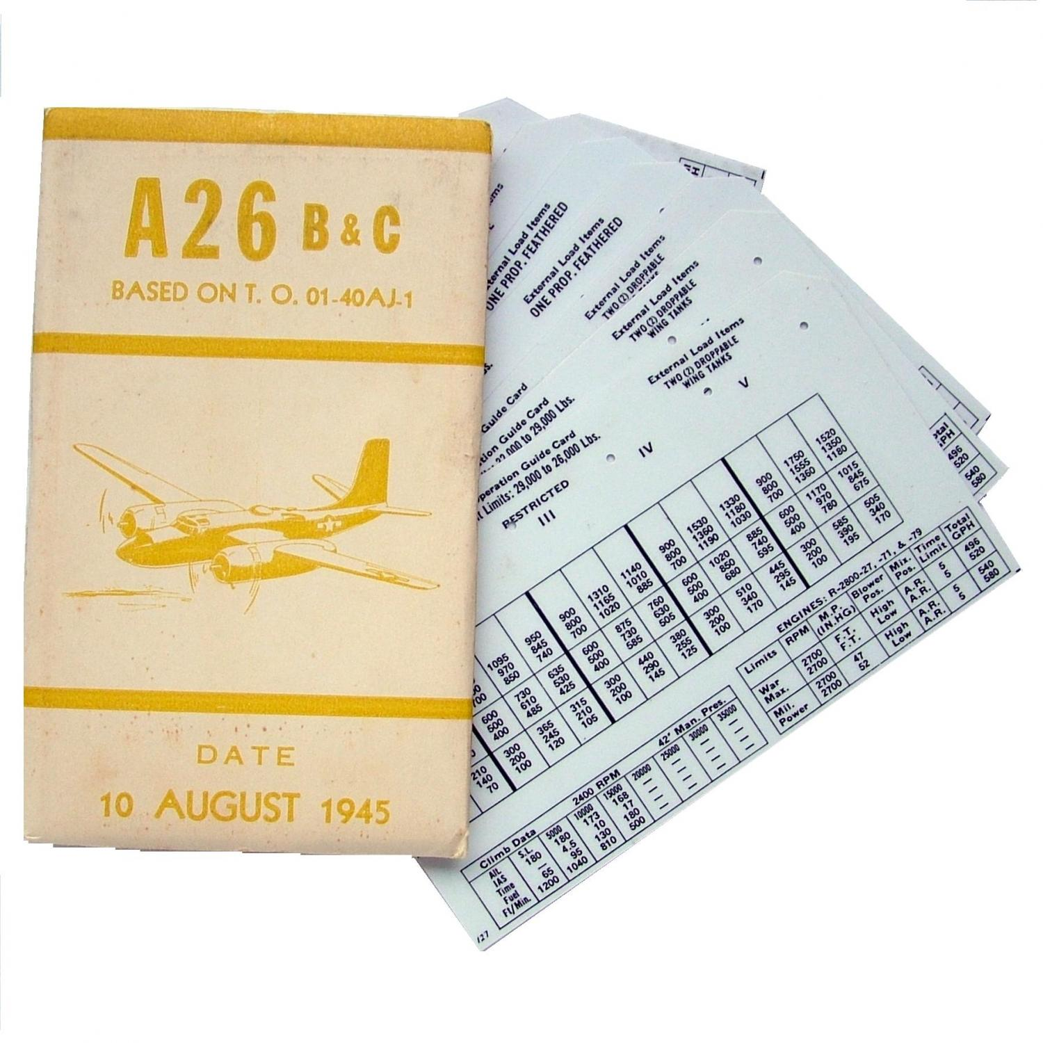 USAAF A-26 Aircraft Flight Operation Cards