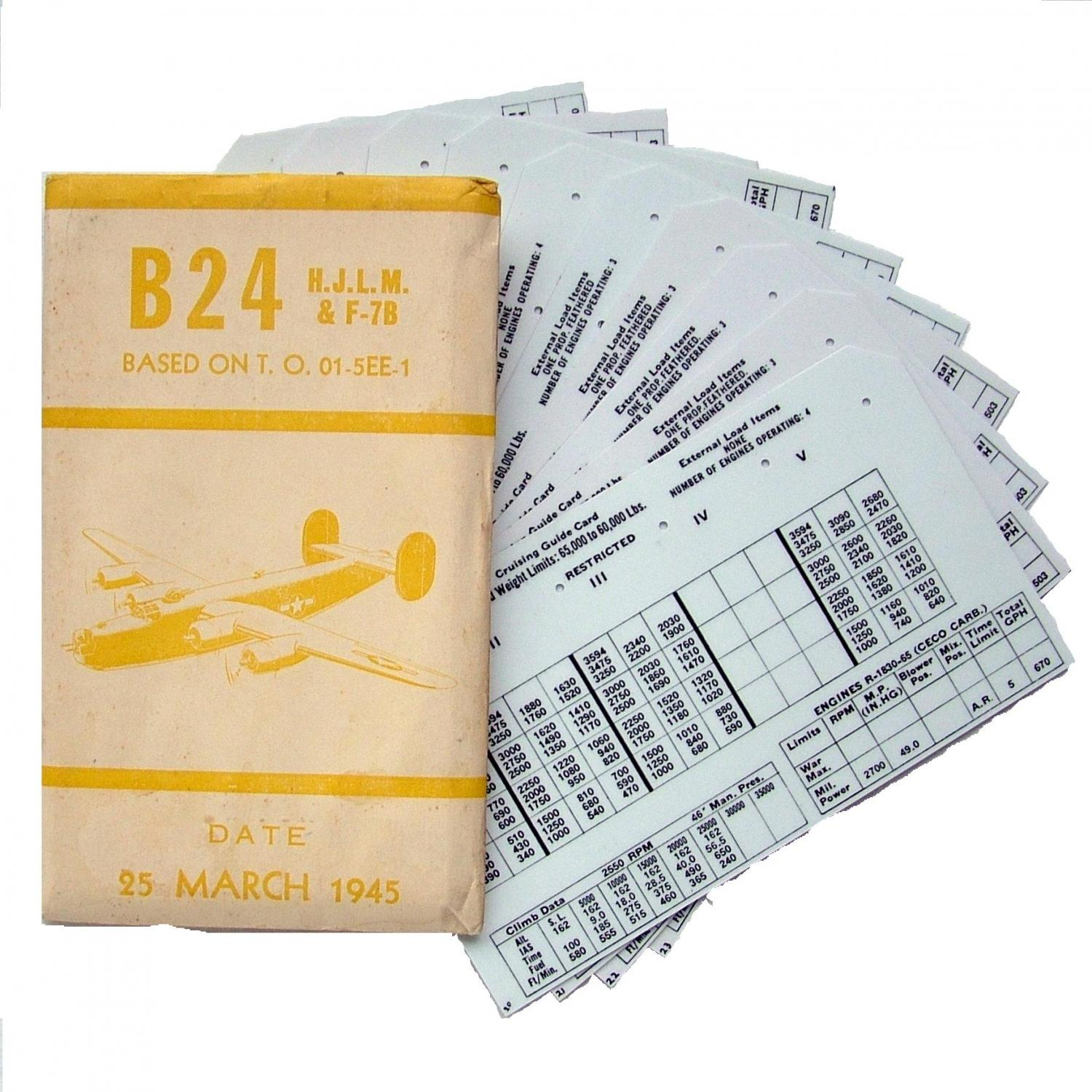 USAAF B-24 Aircraft Flight Operation Cards
