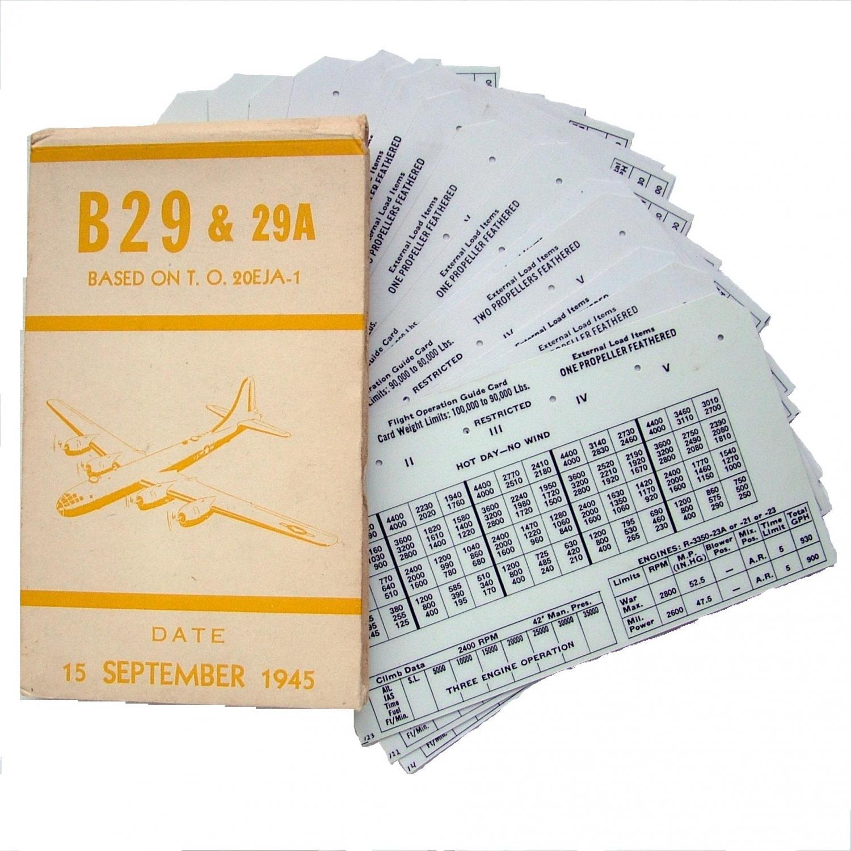 USAAF B-29 Aircraft Flight Operation Cards