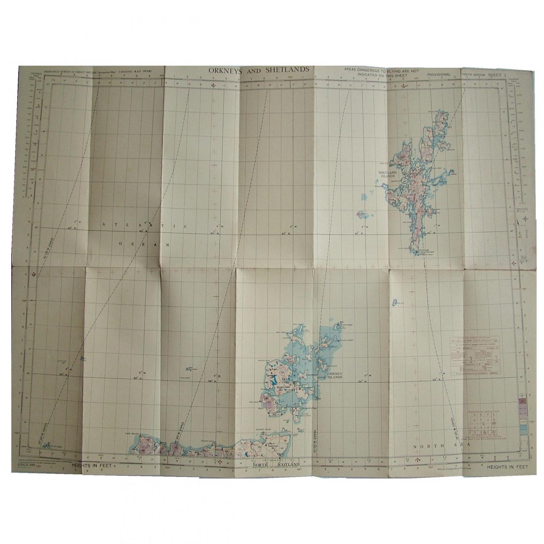 RAF Flight Map - Orkneys And Shetlands