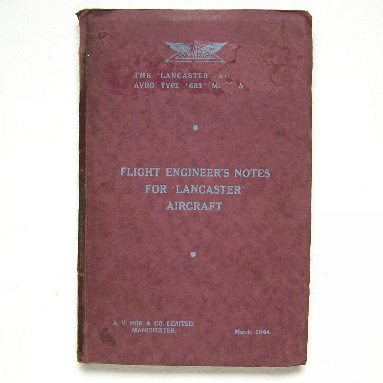 AVRO Lancaster Flight Engineer's Notes