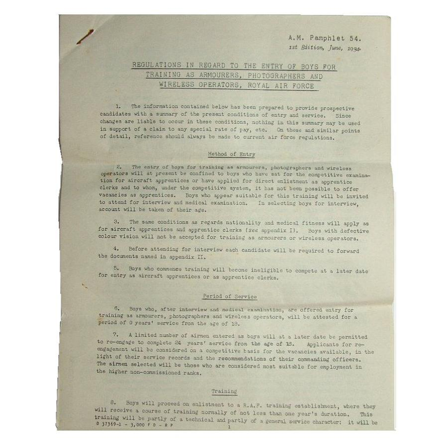 Regulations - Boy Entrants RAF, 1934