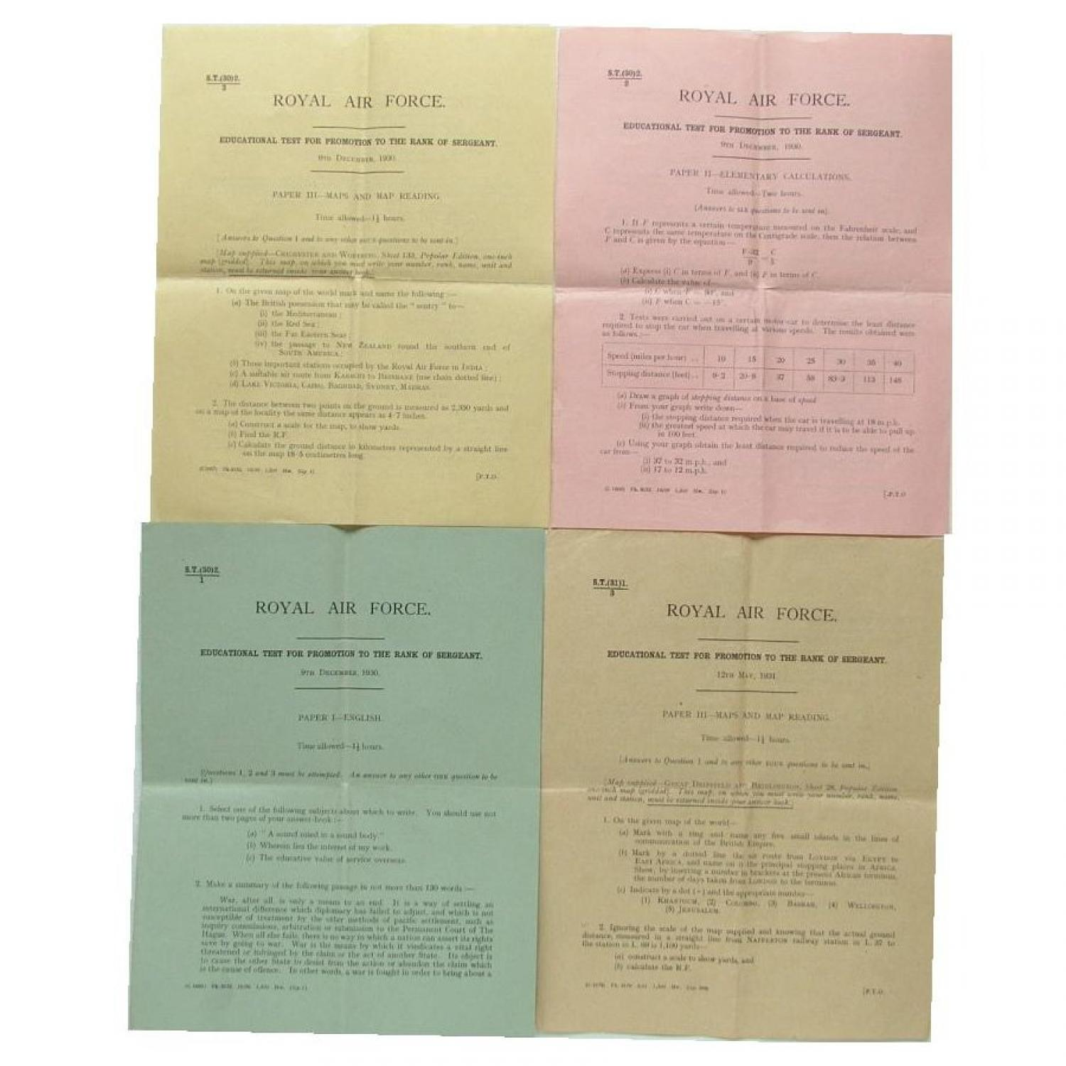RAF Promotion Test Papers, 1930