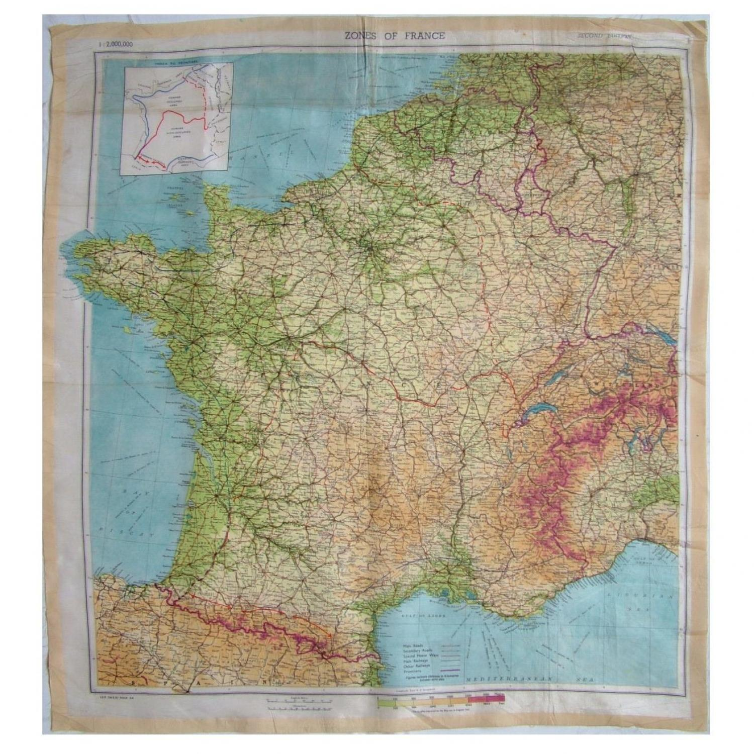 Map Of France Zones.Raf Escape Evasion Map Zones Of France In Escape Maps