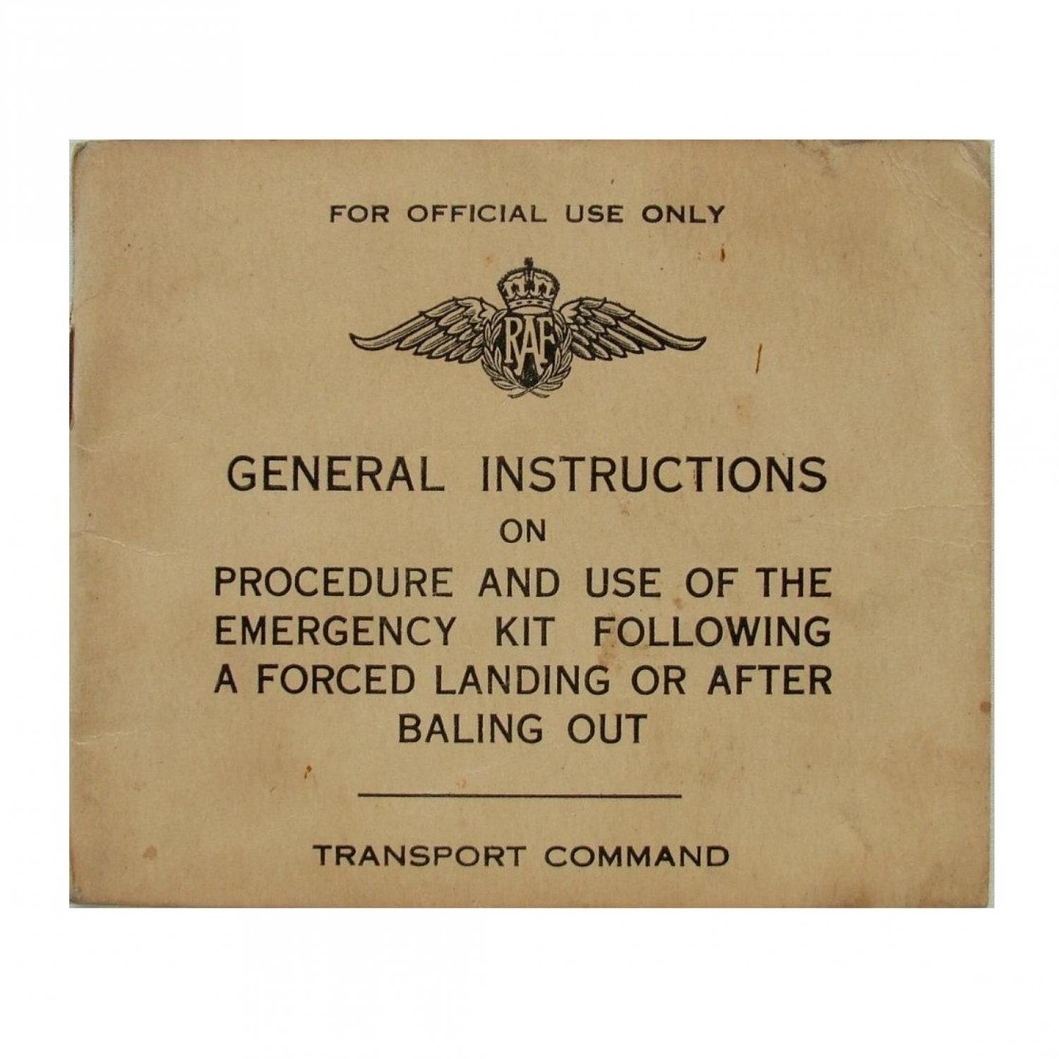 RAF Forced Landing / Bale-Out Instructions