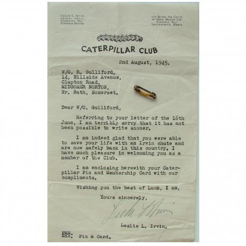 RAF W/Officer's Caterpillar Club Pin in WW2 RAF Documents