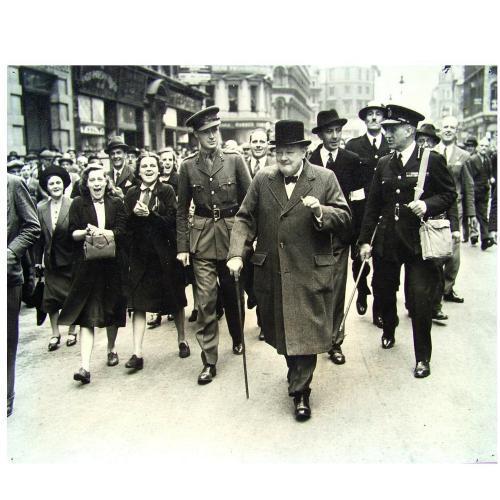 Press Photo - Churchill Inspects Damage