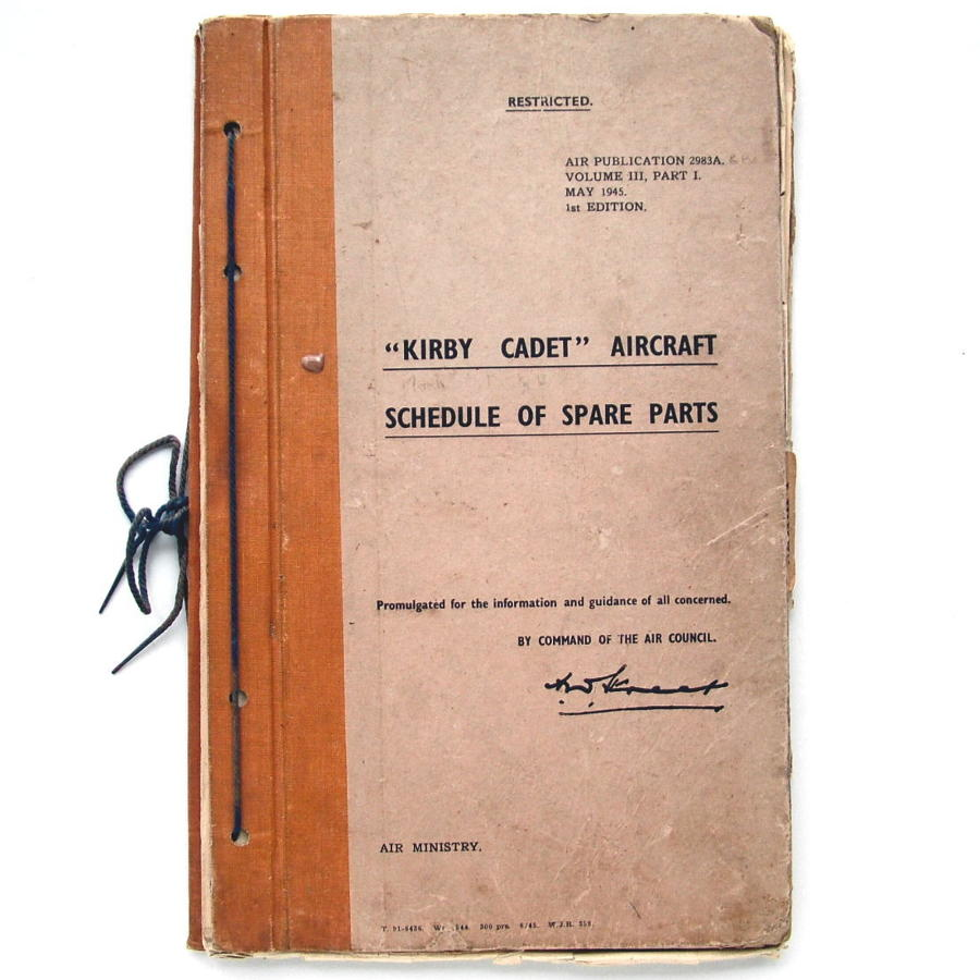 RAF Kirby Cadet glider parts manual