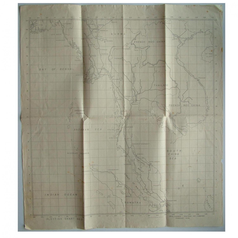 RAF plotting map, Burma - Far East