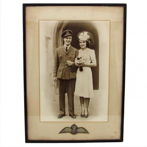 RAF wedding photograph & pilot wings