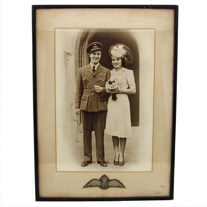 RAF wedding photograph & pilot wings