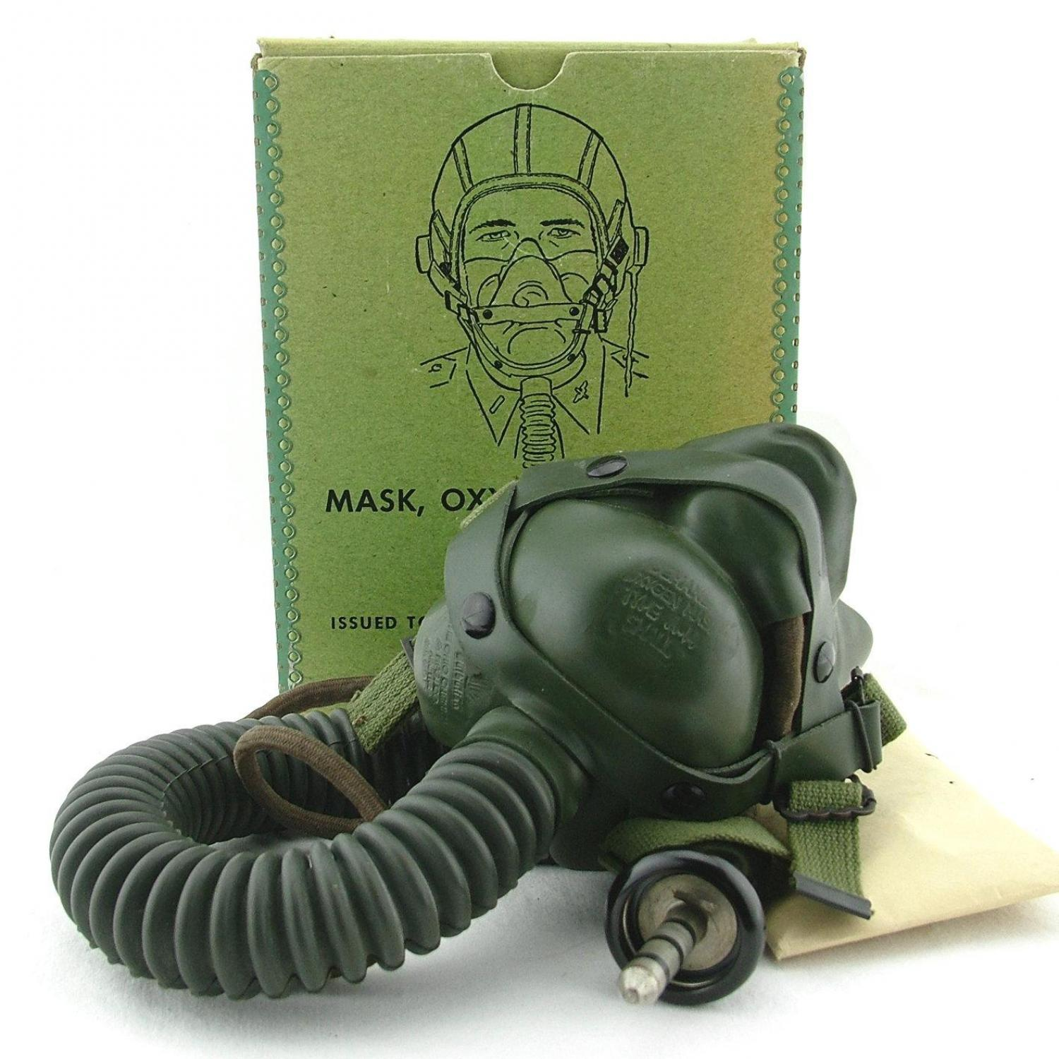 USAAF A-14 oxygen mask, c/w T-44, boxed