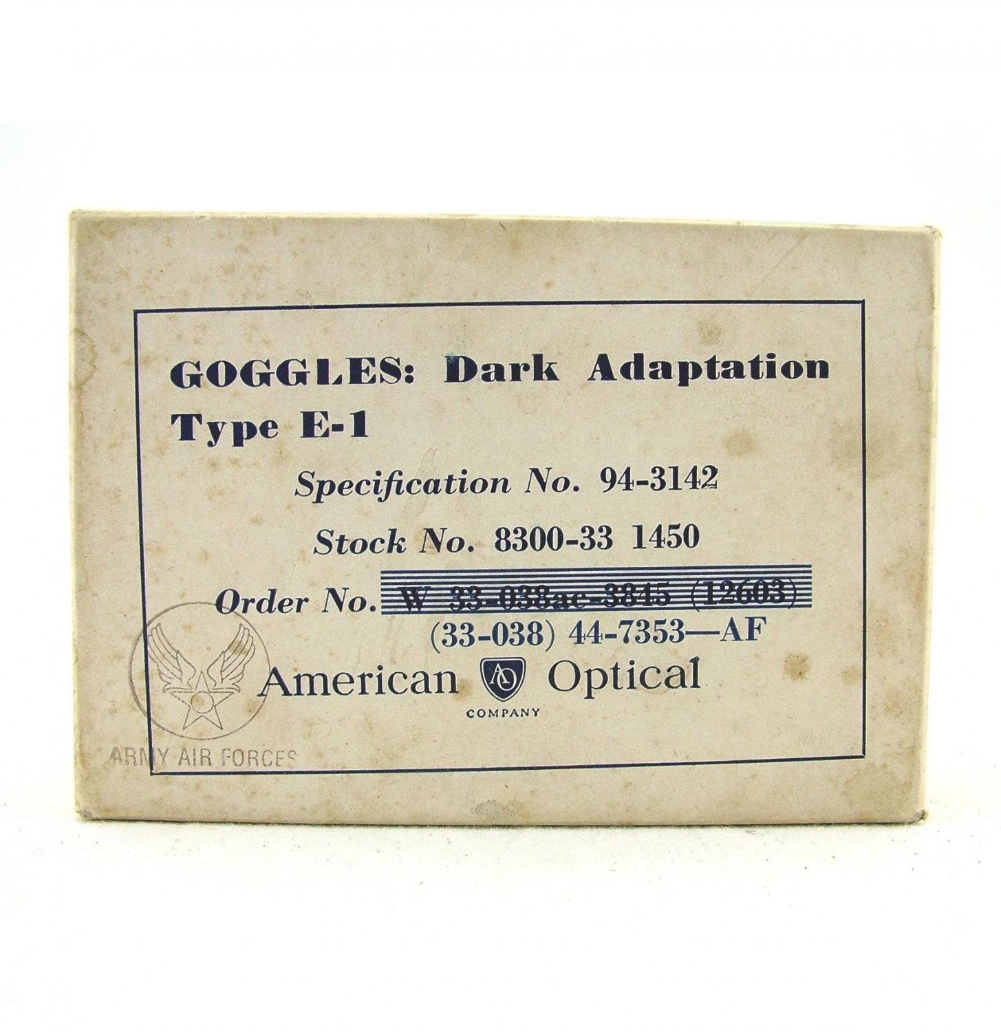 USAAF goggles, dark adaptation, E-1