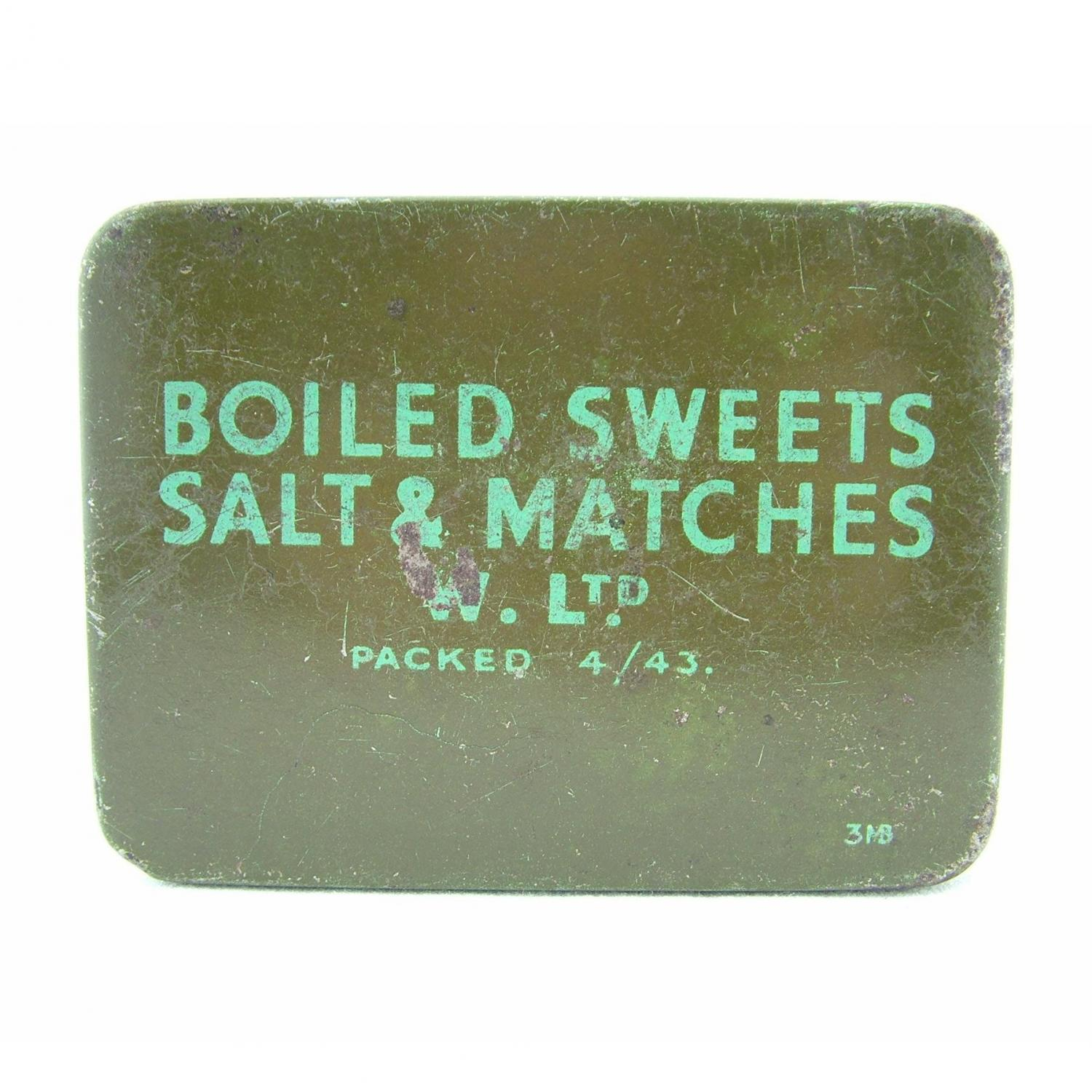 British forces boiled sweets & matches tin