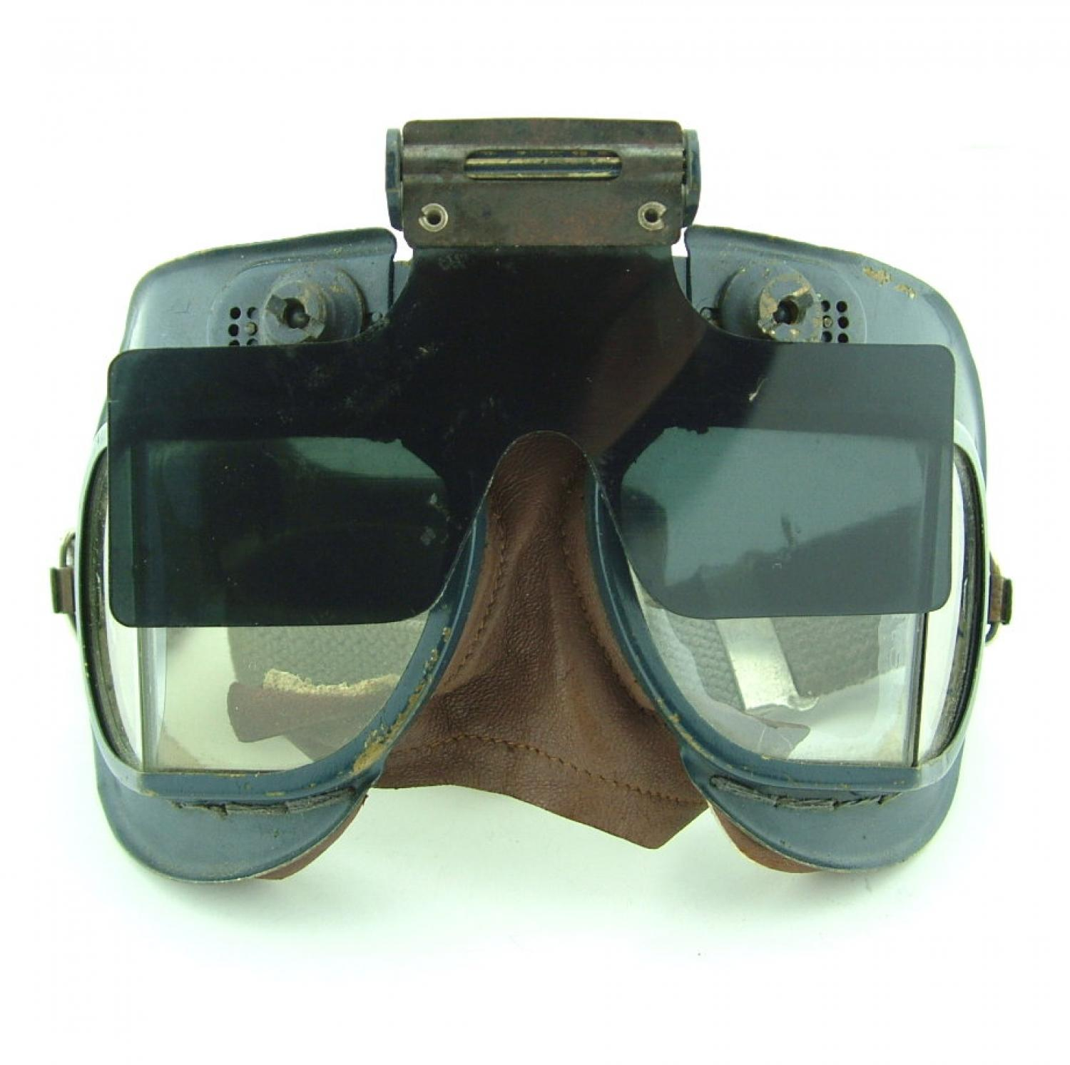 RAF MKVII flying goggles & anti-glare shield