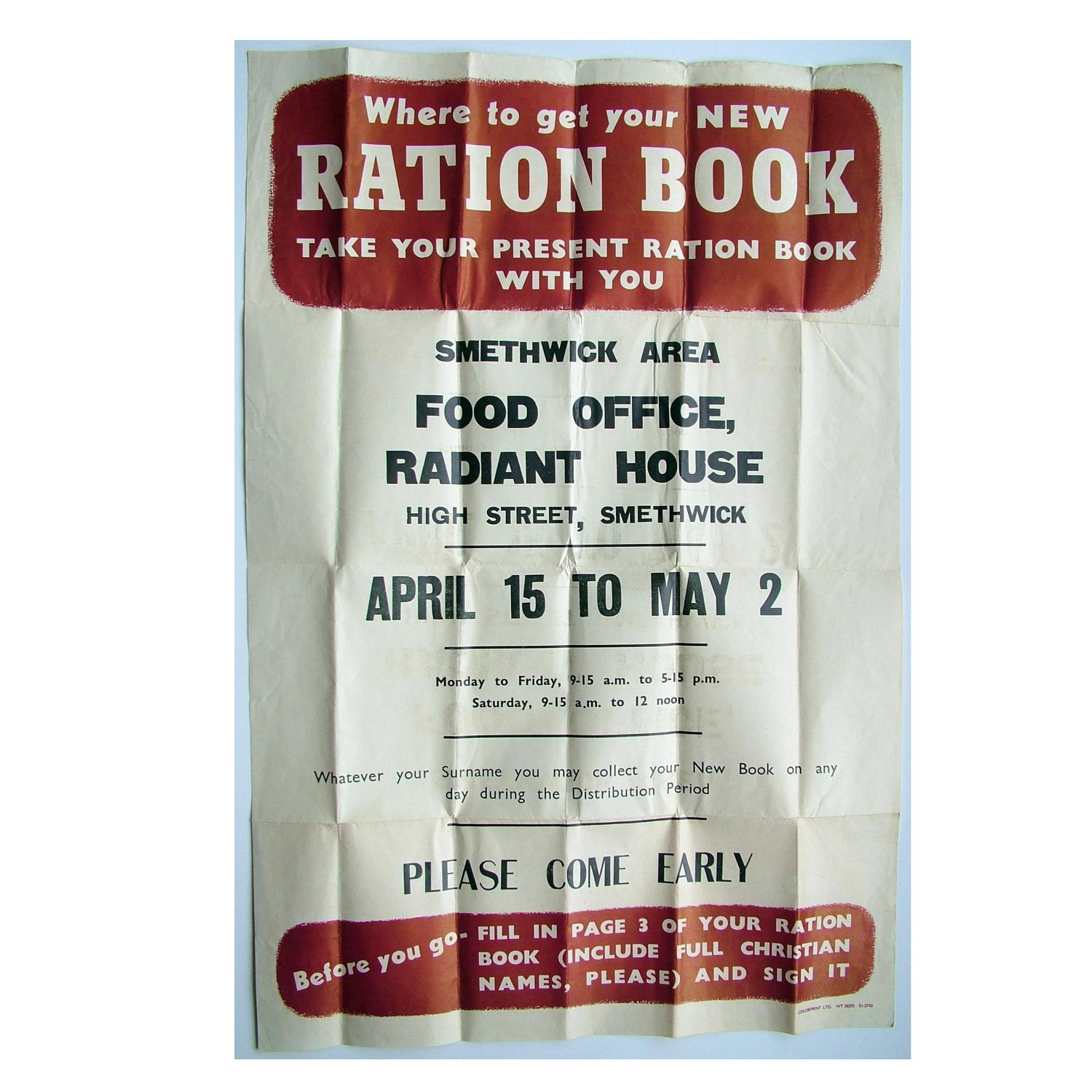 WW2 Original ration book poster