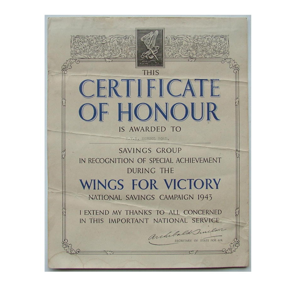 Wings for Victory certificate, 1943