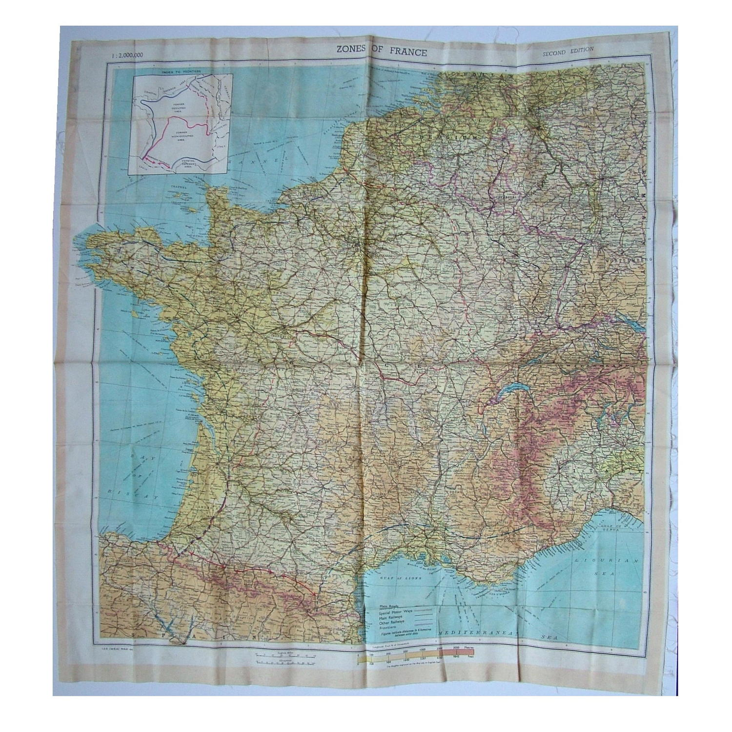 RAF escape & evasion map, Zones of France