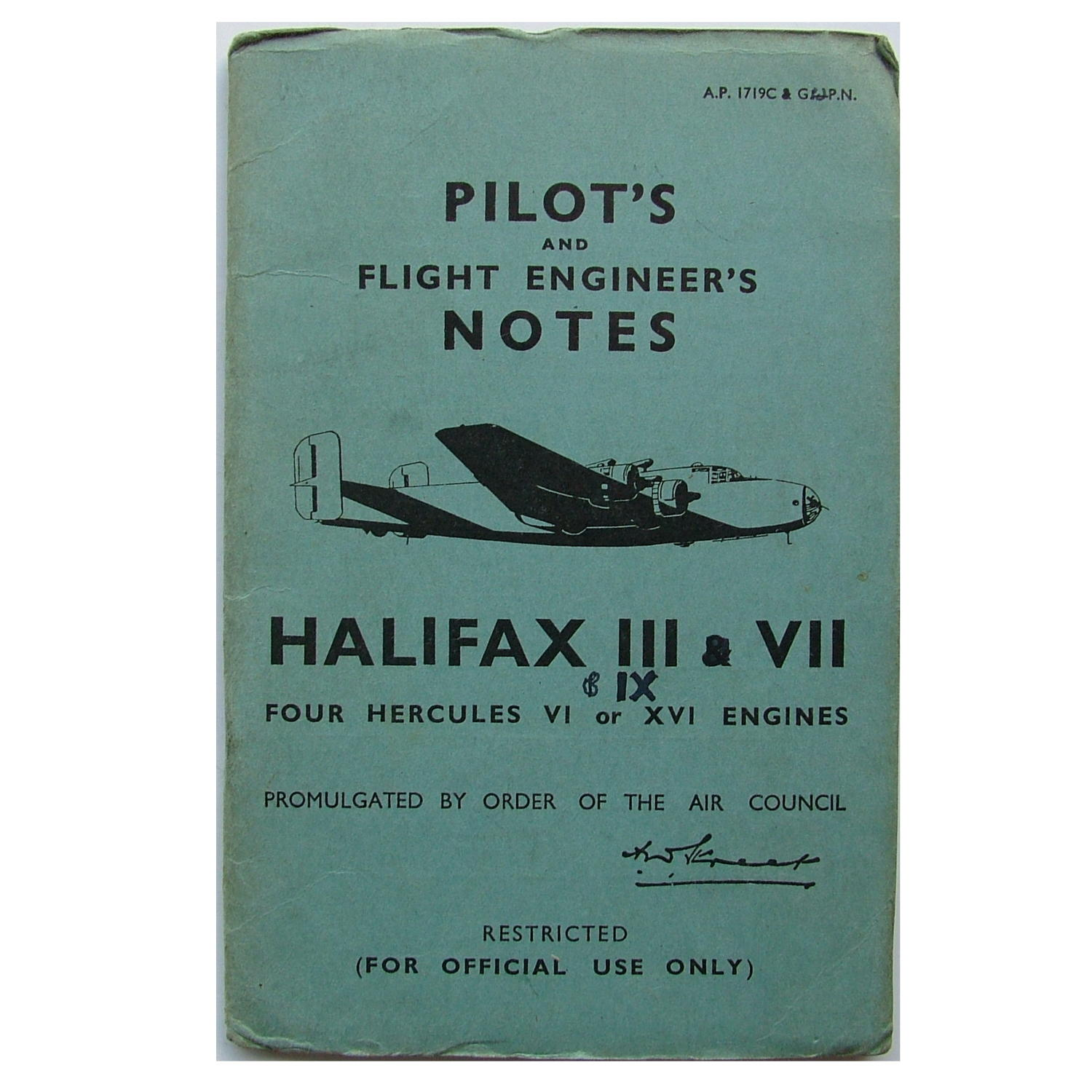 RAF Pilot's notes - Halifax III, VII & IX