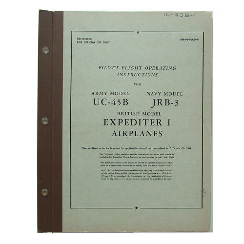 Pilot's notes - UC-45B / Expediter I